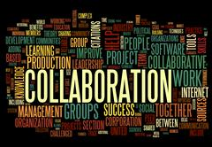 Collaboration concept in word tag cloud Stock Illustration