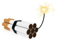 Dynamite composed of cigarettes with burning wick on white background Stock Illustration