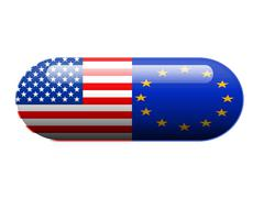 American and European pill Stock Photos