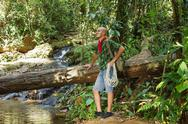 Stock Photo of travelling man in the jungle