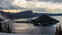 Clouds Formation at Crater Lake Stock Footage