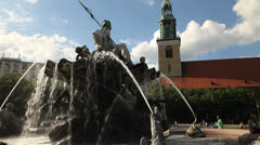 Neptune fountain, Berlin - stock footage