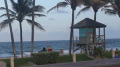 Deerfield Beach lifeguard tower Stock Footage