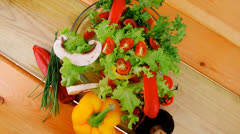 Vegetables in salad Stock Footage
