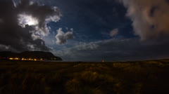 Extreme Wide Shot of Night Clouds at Seaside Oregon Stock Footage