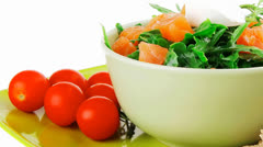 Salad with salmon on bread Stock Footage