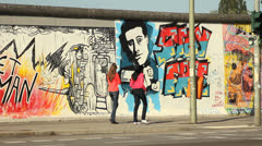 East side Gallery, Berlin Stock Footage