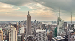 New York Cityscape panning from right to left during the day Stock Footage