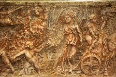 roman burial box ostia antica rome italy - stock photo