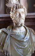 statue emperor marcus aurelius capitoline museum rome italy - stock photo