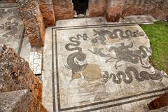Ancient roman baths of neptune mosaic floors ostia antica rome italy Stock Photos