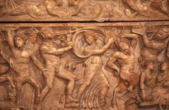 roman burial box capitoline museum rome italy - stock photo