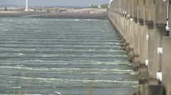 Storm surge barrier - stock footage