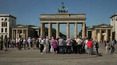 Tourists in front of Brandenburg gate, Berlin Stock Footage