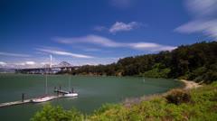 Treasure Island view of Bay Bridge to Oakland Stock Footage