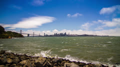 City of San Francisco Downtown and Bay Bridge Stock Footage