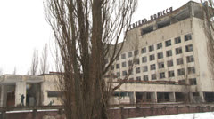 abandoned hotel in Pripyat - stock footage