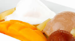 Fresh tropical fruits and ice cream Stock Footage