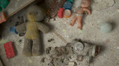 Toys in an abandoned kindergarten Stock Footage