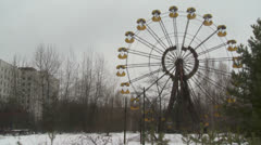 Ferris wheel in Pripyat - stock footage