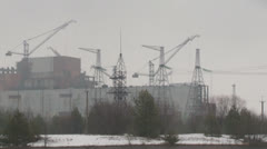construction cranes at the Chernobyl nuclear power plant - stock footage