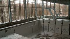 pool in the abandoned city - stock footage