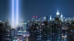 911 Lights in New York City - September 11th Memorial Beams Manhattan NYC - stock footage