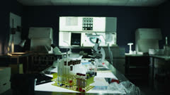 Zoom view of empty medical research laboratory - stock footage