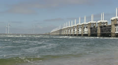 Storm surge barrier Stock Footage