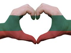 Heart and love gesture in bulgaria flag colors by hands isolated on white Stock Photos