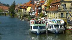 Germany Bavaria Franconia Bamberg cruise tour boat Regnitz river canal Stock Footage