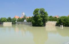 flooding river at bishop castle - stock photo