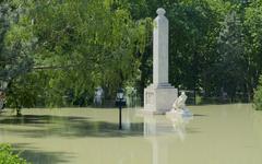 Memorial on flooded rado island Stock Photos