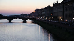 """Alle Grazie"" bridge in Florence, Italy Stock Footage"