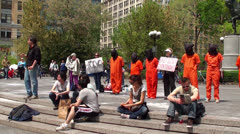 Shut down Guantanamo Bay protest at Union Square. Stock Footage