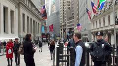 The police at the entrance of the New York Stock Exchange Stock Footage