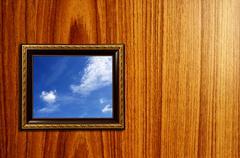 Kuva puinen kuvakehys kanssa taivas asetus sisällä Kuvituskuvat