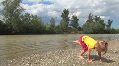 Child Playing at Mountain River, Little Girl Splashing in Stream Water, Children Stock Footage