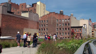 Stock Video Footage of The crowd in the High Line Park. NYC, USA.