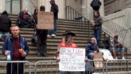 Stock Video Footage of Participants Occupy Wall Street (OWS) near the New York Stock Exchange.