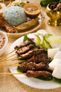 Satay a traditional malaysian indonesian roasted meat skewer Stock Photos