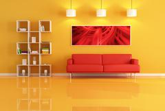 living room with bookcase and red leather sofa - stock illustration