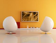 Living room with lcd tv Stock Illustration