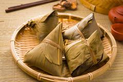 Chinese dumplings, zongzi usually taken during duanwu festival occasion Stock Photos
