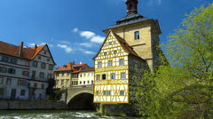 Unesco Bamberg old town Town Hall architecture on Regnitz river Stock Footage