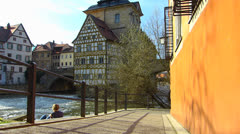 Unesco Bamberg old town Town Hall on Regnitz river Stock Footage