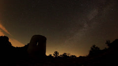 Time lapse of stars behind Syuyrenskaya fortress VI-XI centuries Stock Footage