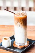 Iced coffee latte with espresso shot for adding Stock Photos
