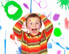surprised painted child - stock photo