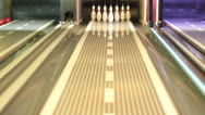 Stock Video Footage of Bowling Strike - ball hitting pins in the alley